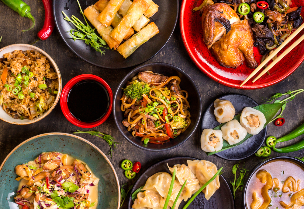 Assorted,Chinese,Food,Set.,Chinese,Noodles,,Fried,Rice,,Dumplings,,Peking